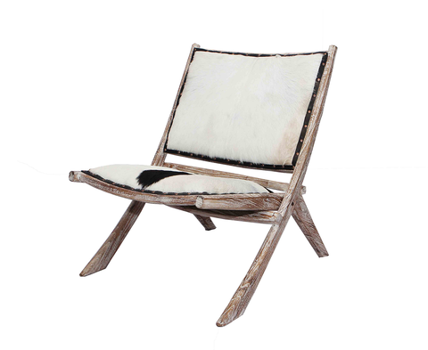 321307	Sedeka Folding Chair - Black & White Gold Hide