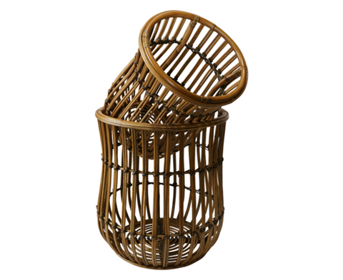 500005 Set of 2, Grand Rattan Baskets -small & large
