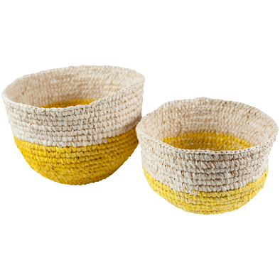 160241	S/2 Round Yellow Bottom basket , raffia