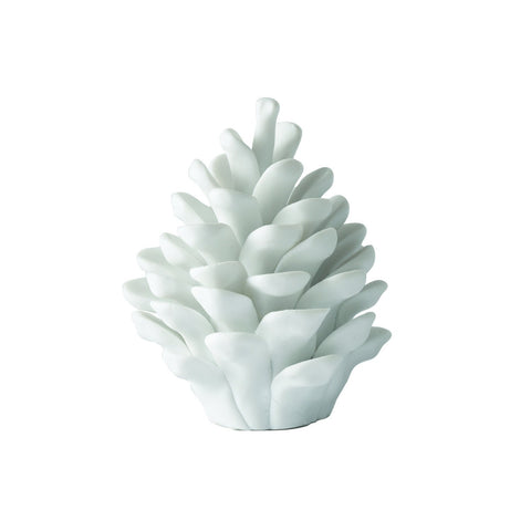 S724024 Set of 2 White Porcelain Shore Pine Cones