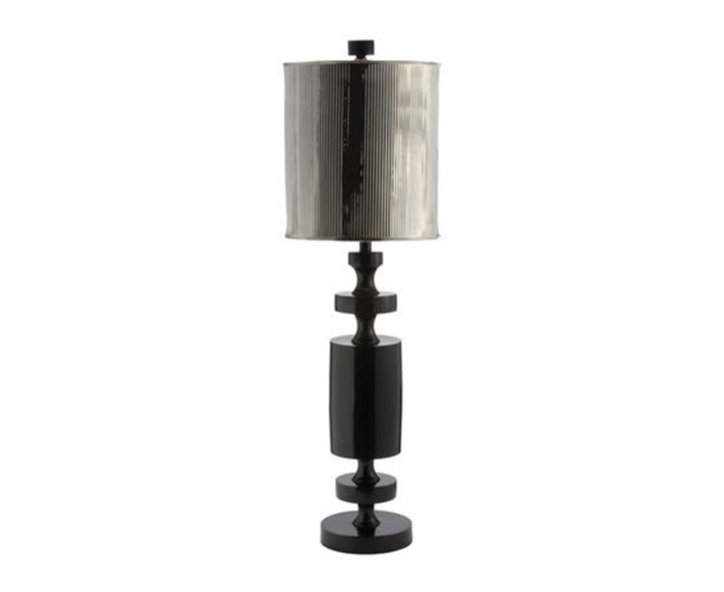 726004 Black Barbell Lamp w/ metal shade