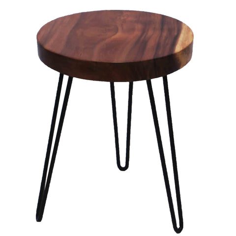 321304	Suar Wood Side Table - Suar Wood & Hairpin Metal Legs