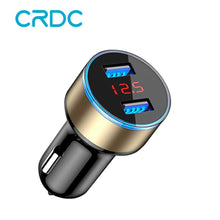 Load image into Gallery viewer, CRDC Car Charger 5V 3.1A With LED Display Universal Dual USB for Xiaomi Samsung S8 iPhone X 8 Plus Tablet