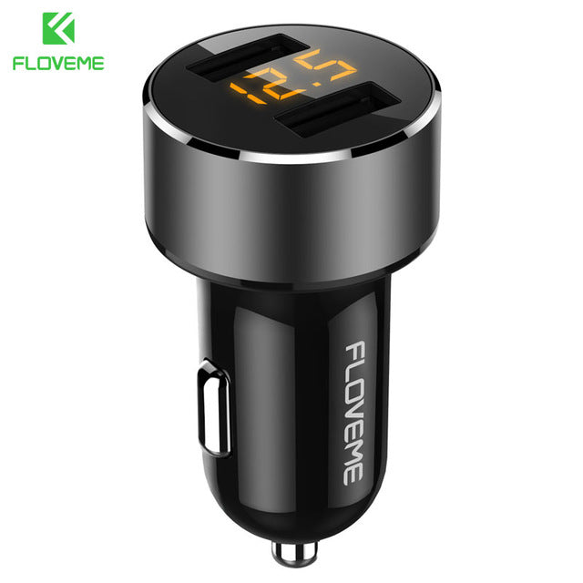 FLOVEME Dual USB Fast Charging Car Charger For iPhone Samsung Xiaomi 5V/3.6A LED Display