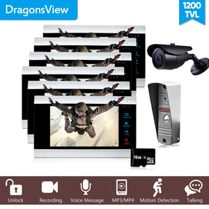 "Dragonsview 7"" Video Intercom Motion Ring Doorbell with Camera  6 Monitors and 1 CCTV Camera 1200TVL Record"