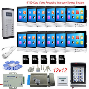 "12 Apt Access Control Keyboard System Ring Video Doorbell With Lock 9"" Color 8GB SD Card Recording"