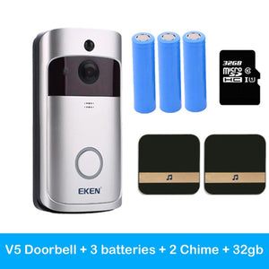 Smart Wifi IP Wireless V5 Door Bell Camera Visual  Intercom with Chime Night Vision Security Camera