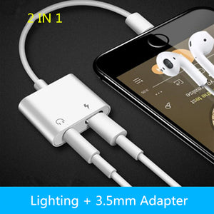 2 in 1 Lighting Charger Listening Adapter for iPhone X 8 7 Plus Charge Adapter 3.5mm Jack AUX Splitter for iPhone XS MAX