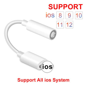 WST IOS 11 12 Headphone Aux Adapter For iPhone 7 8 X  For Lightning Female To 3.5mm Male Adapter Headphone Jack Cable