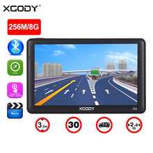 "Load image into Gallery viewer, 7"" GPS Navigation 256MB 8GB Sat Nav Bluetooth Sunshade Free Maps"