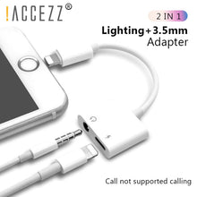 Load image into Gallery viewer, 2 in 1 Lighting Charger Listening Adapter For iPhone X 8 Plus Charging Adapter 3.5mm Jack AUX Splitter For iPhone XS MAX