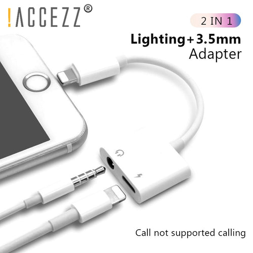 2 in 1 Lighting Charger Listening Adapter For iPhone X 8 Plus Charging Adapter 3.5mm Jack AUX Splitter For iPhone XS MAX