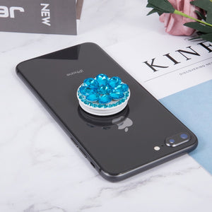 Round Diamond Phone Holder Expanding Finger Ring Stand Grip Mount Universal Socket