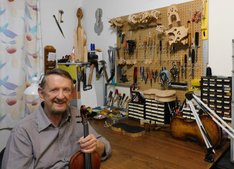 Luthier Filip Tomov in his workshop