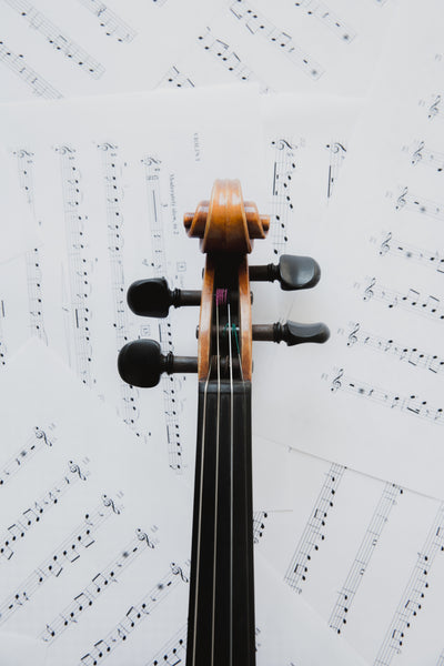 Violin head on music sheets.