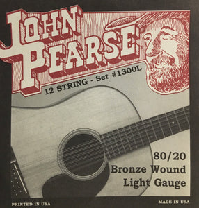 John Pearse 1300L 12-String 80/20 Bronze Wound Acoustic Guitar Set