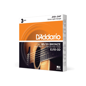 D'Addario EJ10 80/20 Bronze Acoustic guitar Strings, Extra Light