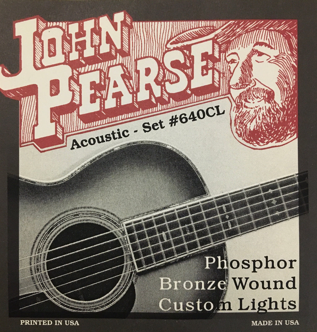 John Pearse 640CL Phosphor Bronze Wound Acoustic Guitar String Set, Custom Light