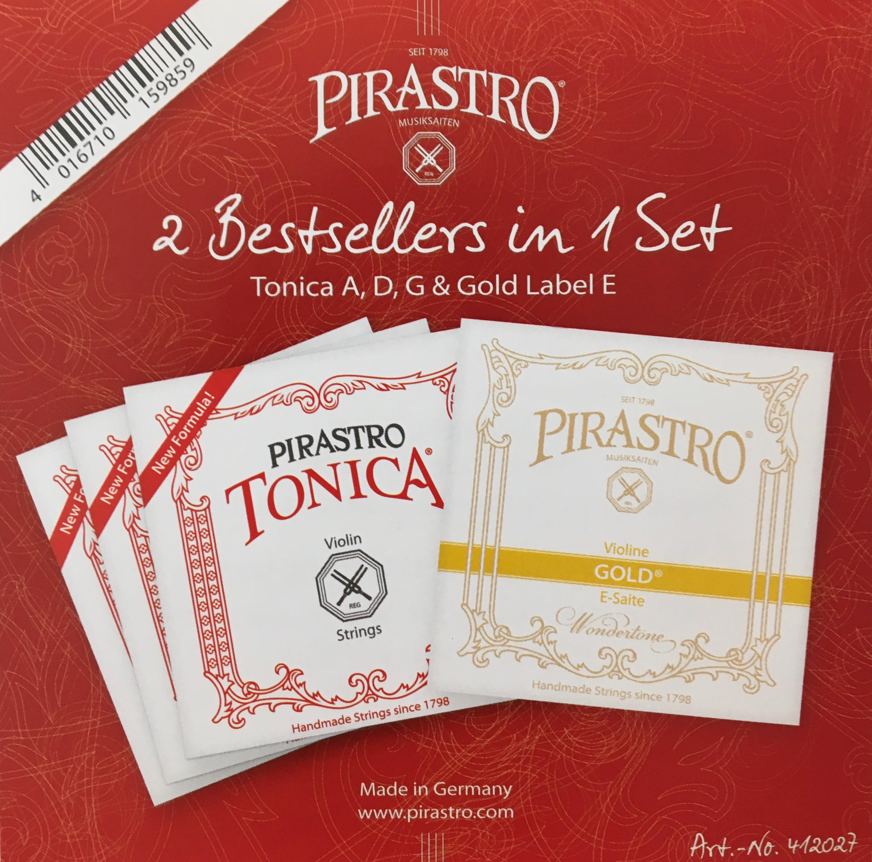 Pirastro Tonica Gold-E Violin String Set - 4/4