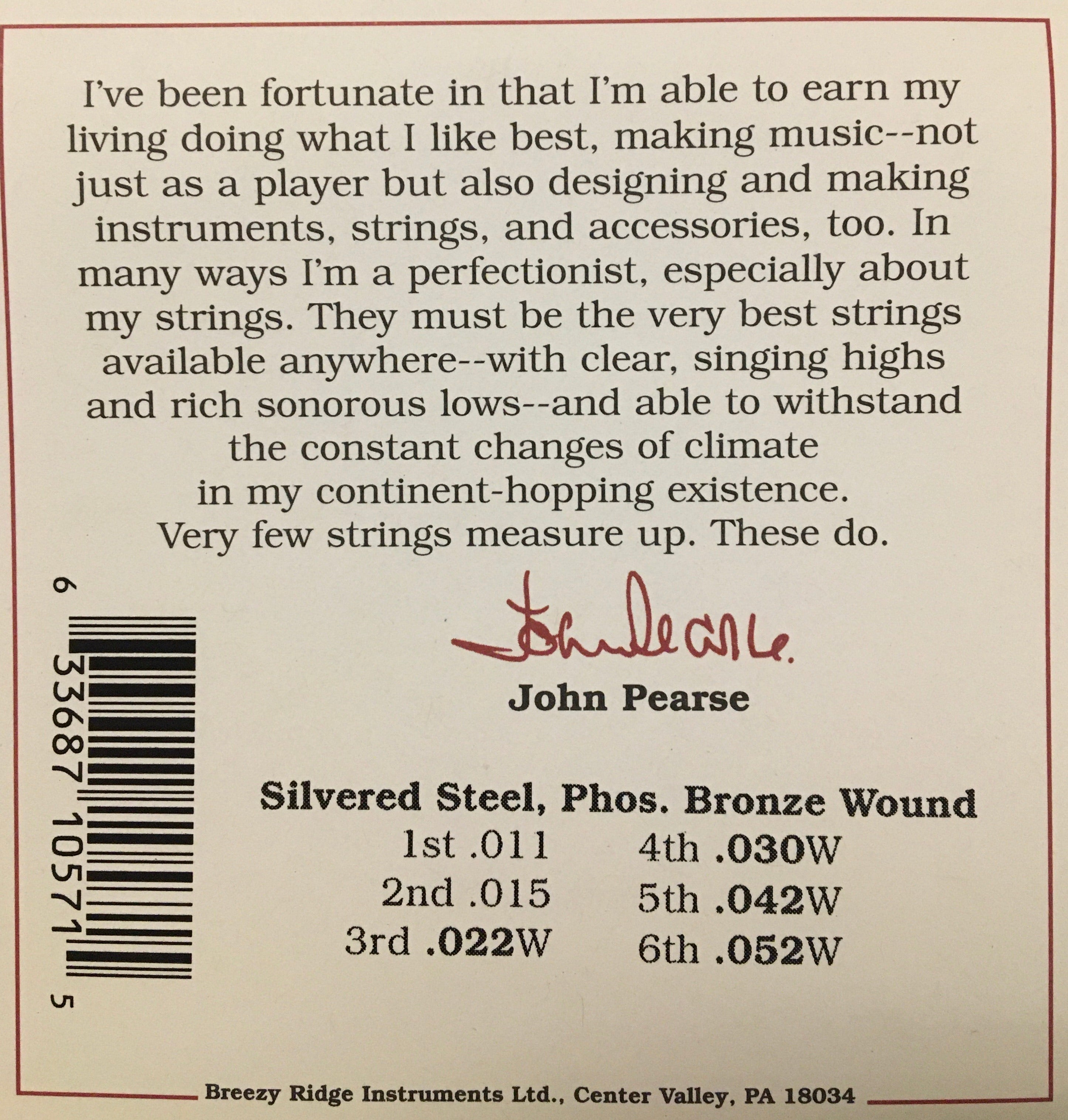 John Pearse 570C Phosphor Bronze Wound Acoustic Guitar String Set
