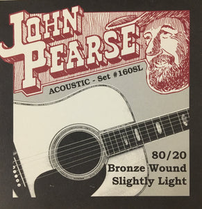 John Pearse 160SL 80/20 Bronze Wound Slightly Light Acoustic Guitar String Set