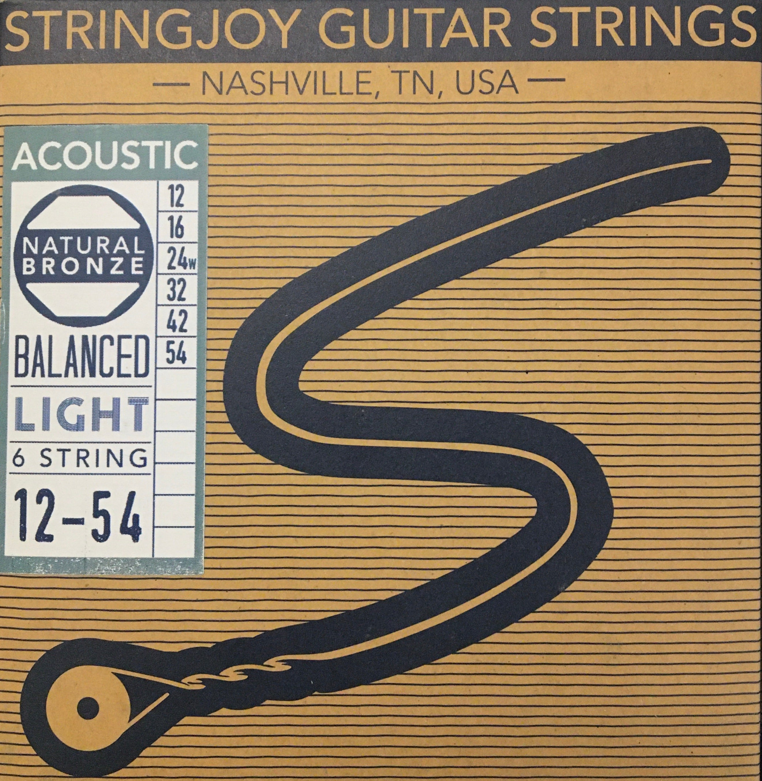 StringJoy Natural Phosphor Bronze Acoustic Guitar Strings, Balanced Light
