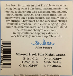 John Pearse 960L Pure Nickel Wound Acoustic Guitar String Set