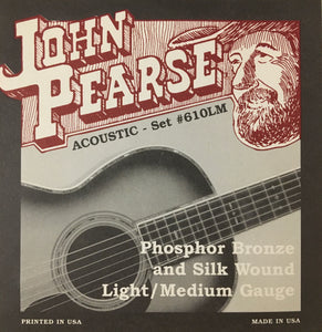 John Pearse 610LM Phosphor Bronze & Silk Wound Acoustic Guitar String Set, Light/Medium