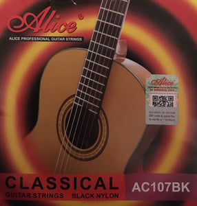 Alice AC107BK Black Nylon Classical Guitar String Set, Hard Only