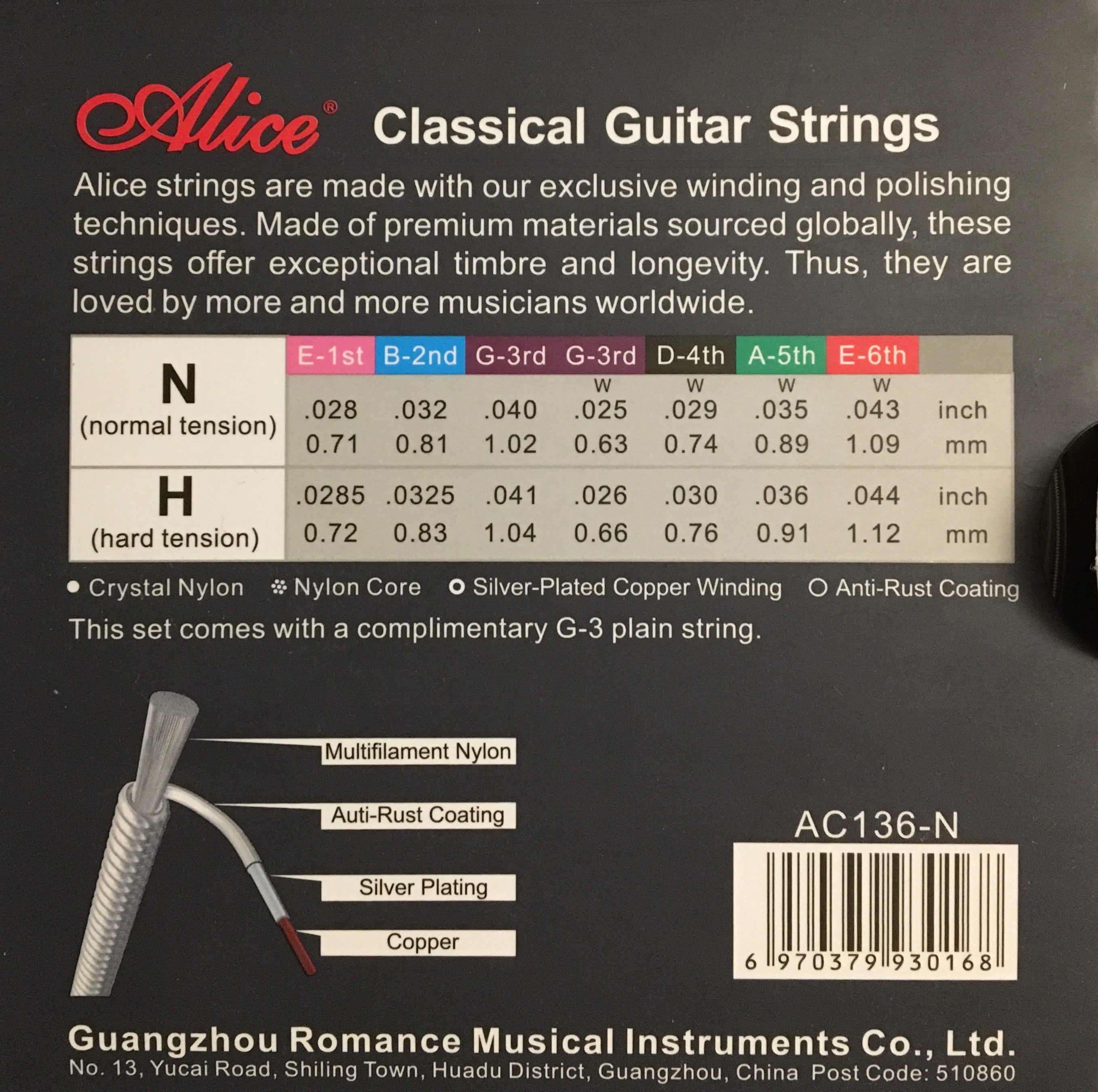 Alice AC136 Concert String Set for Classical Guitar