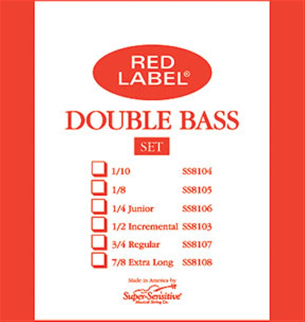 Red Label Super-Sensitive Double Bass Strings 4/4 - Strings, Bows & More