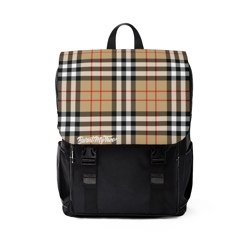 Perfect Plaid in Tan - Unisex Casual Shoulder Backpack