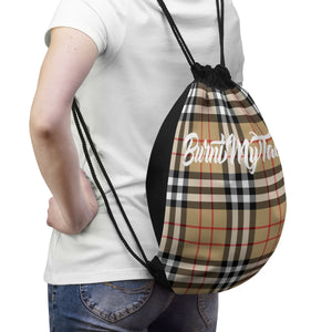 Perfect Plaid Drawstring Bag in Tan by Burnt My Taco