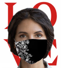 Load image into Gallery viewer, Burnt My Taco Black Floral Face Mask