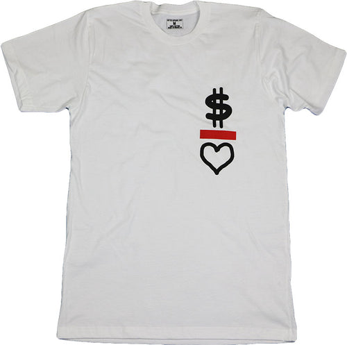 MONEY OVER LOVE (WHITE) MENS TEE