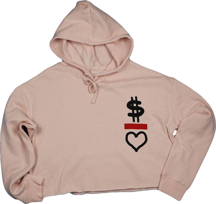 MONEY OVER LOVE (BLUSH PINK) CROPPED HOODIE