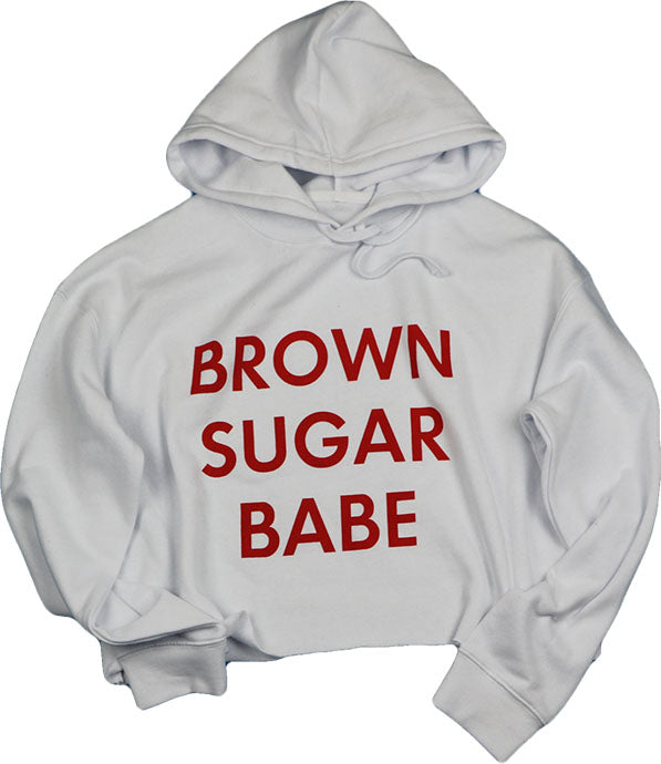 BROWN SUGAR BABE (WHITE) CROPPED HOODIE
