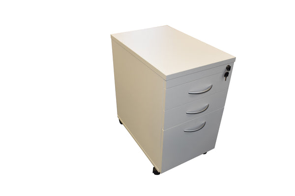 New White 3 Desk High Ped
