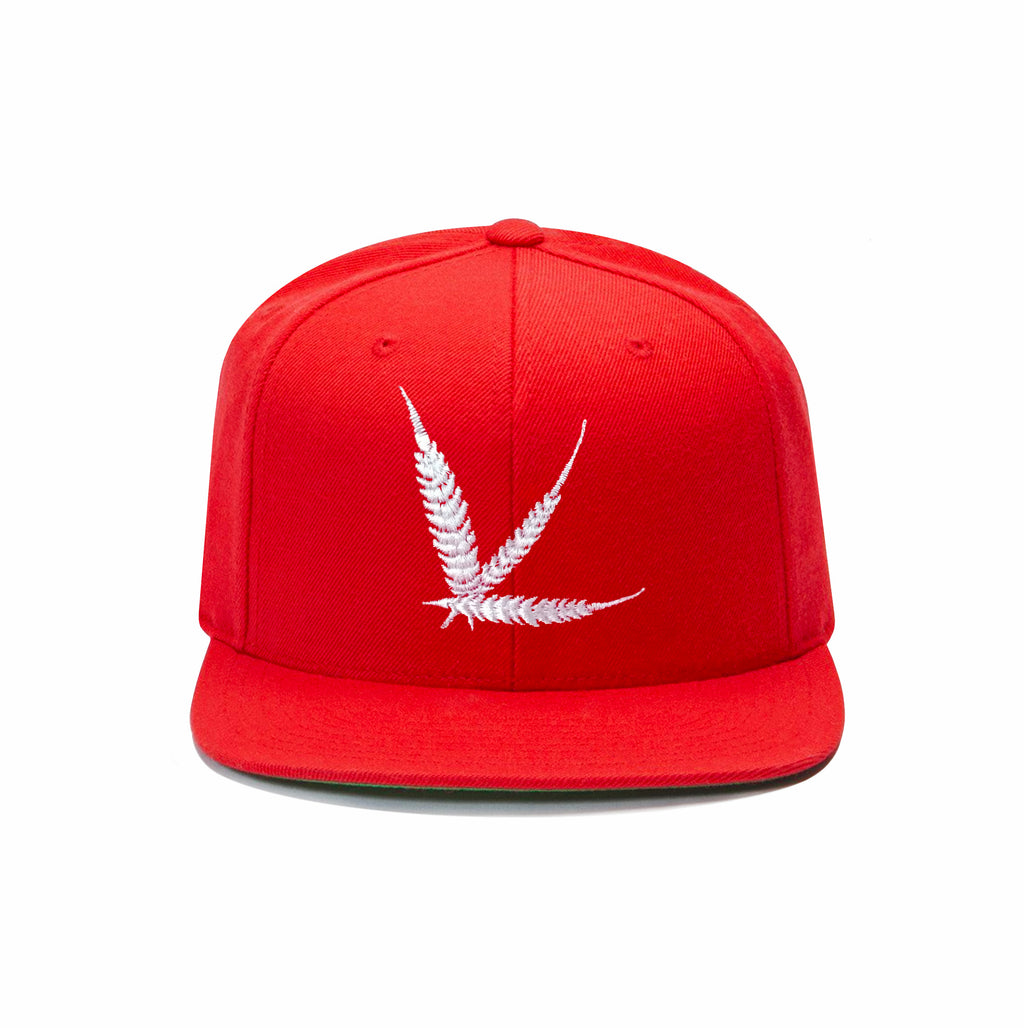 Cannabism Red Snapback with Green Undervisor