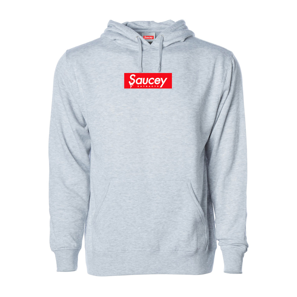 Saucey Box Logo Hoodie — Heather Grey