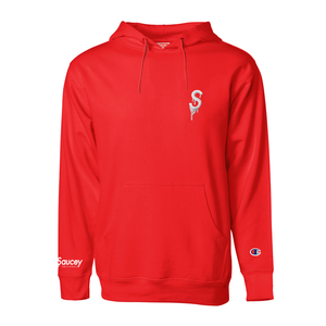 Saucey Farms & Extracts x Champion S-Logo Hoodie — Red