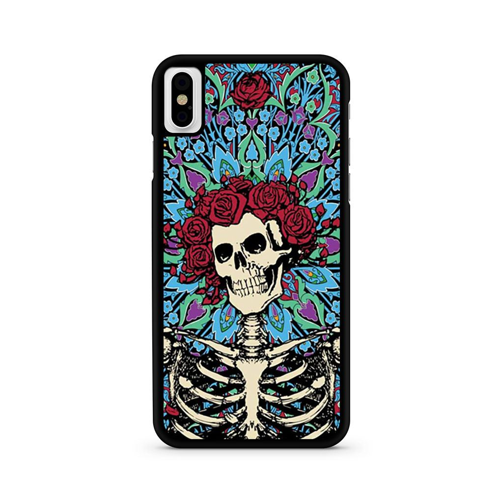Grateful Dead Skeleton With Roses Colorful iPhone X case