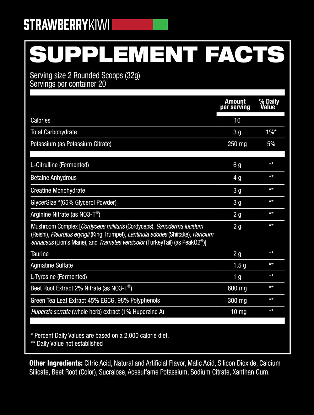 Bloodshot Strawberry Kiwi Supplement Facts