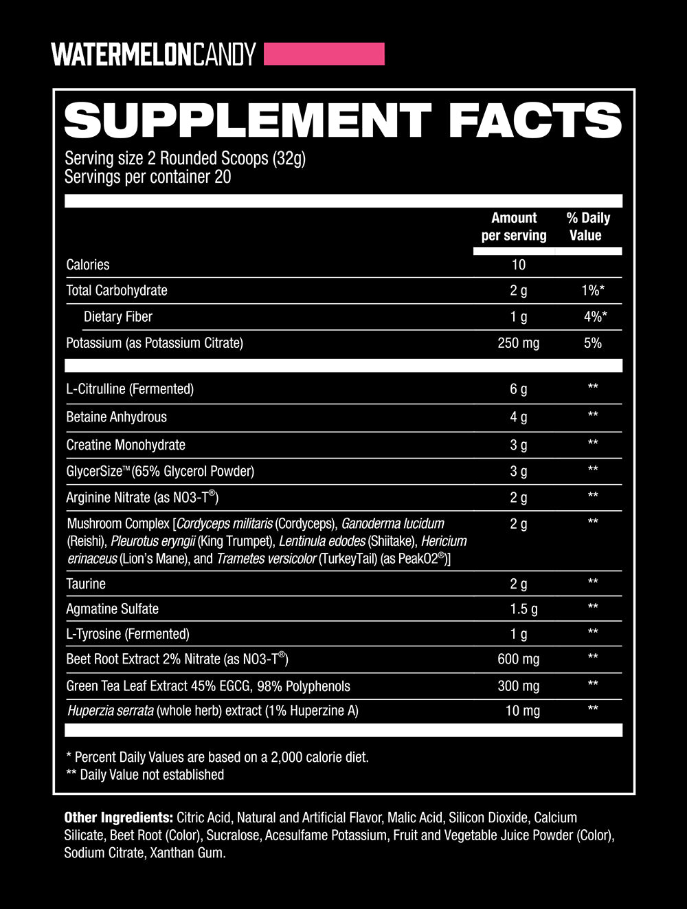 Bloodshot Watermelon Candy Supplement Facts