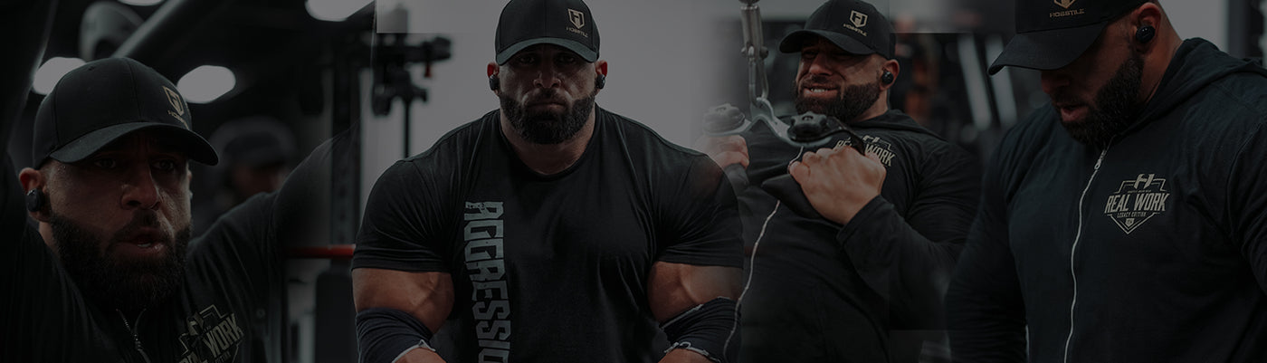 Bodybuilder Fouad Abiad training with Hosstility pre workout supplement for focus energy ingredients