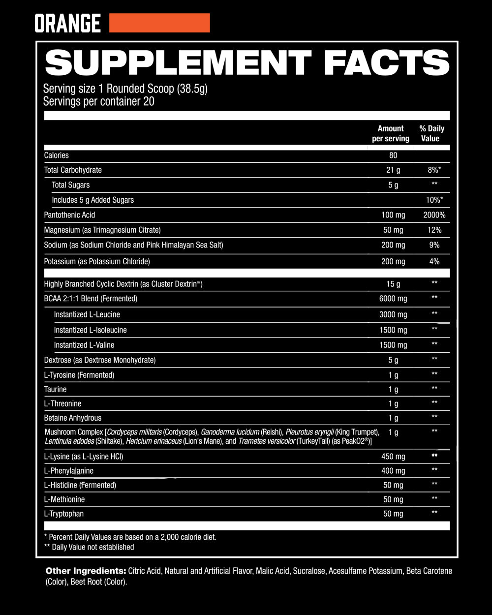 IntraR3 Orange Supplement Facts