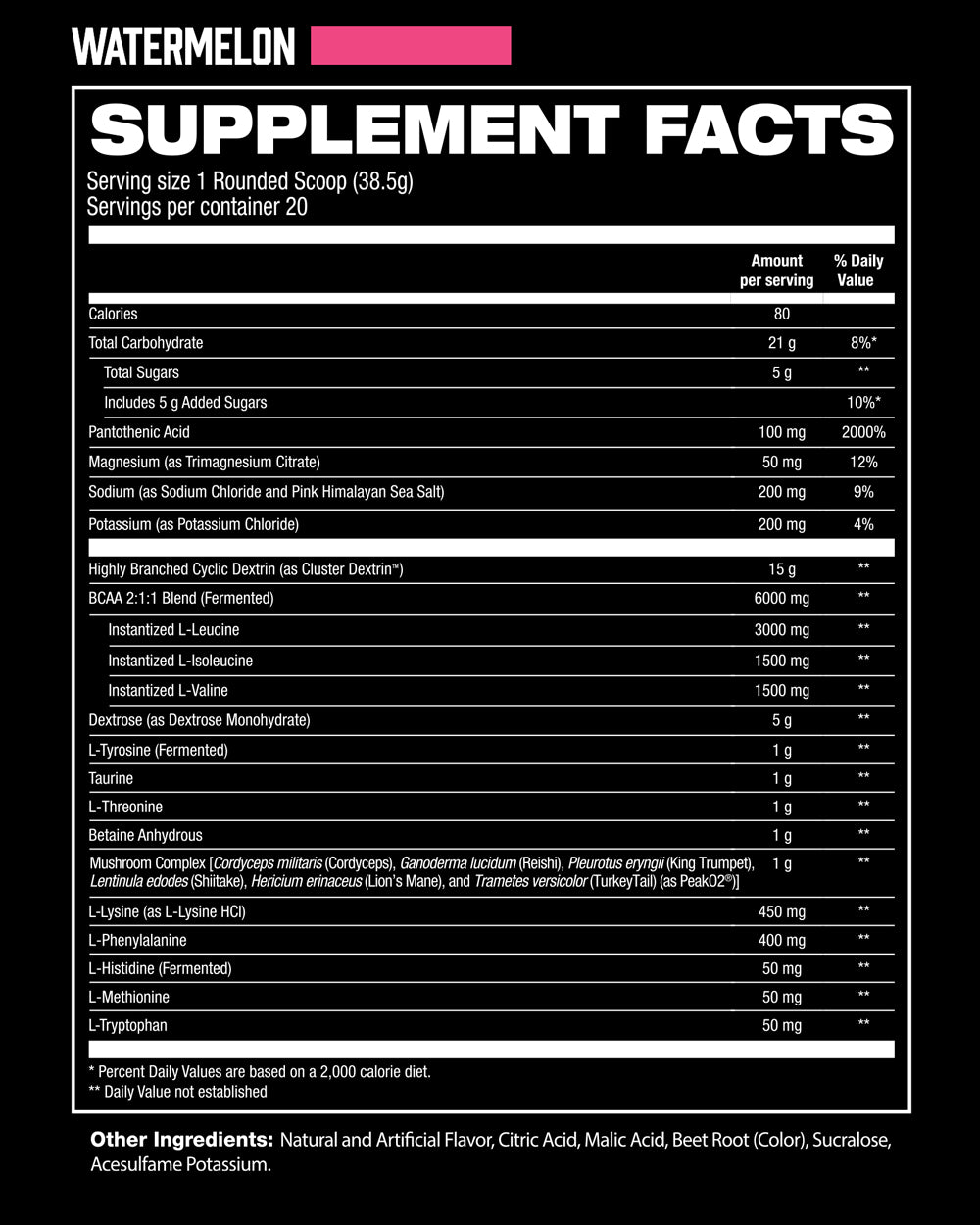 IntraR3 Watermelon Supplement Facts