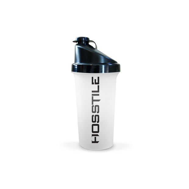 Clear shaker cup with black Hosstile logo