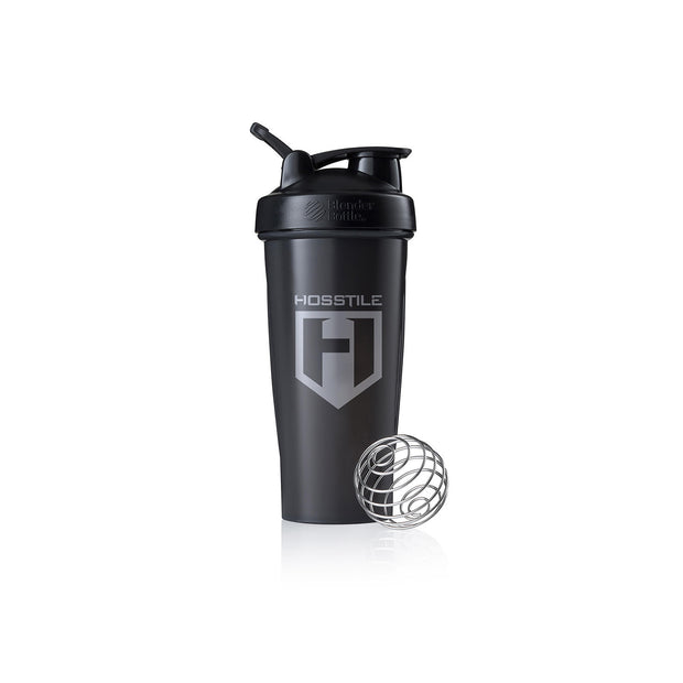 Black BlenderBottle Classic 28 oz with Gray Hosstile Logo