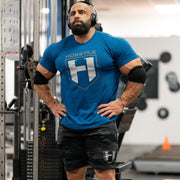 Bodybuilder Fouad Abiad wearing Shield sweatshort in gym